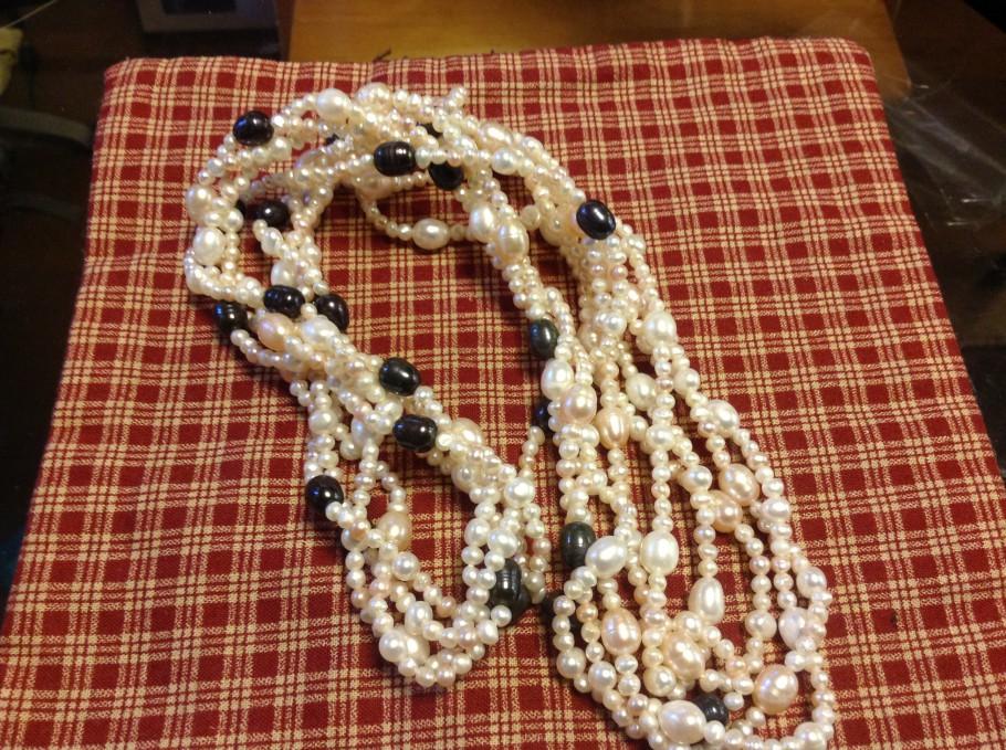 真珠のロングネックレスリフォーム