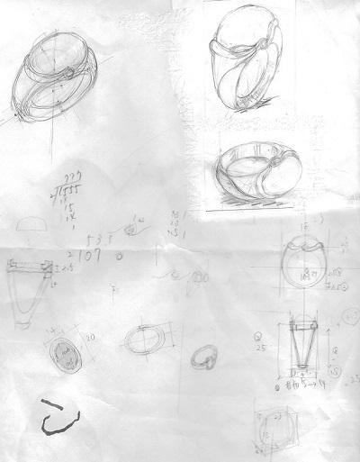 ムーンストーンリングデザイン画