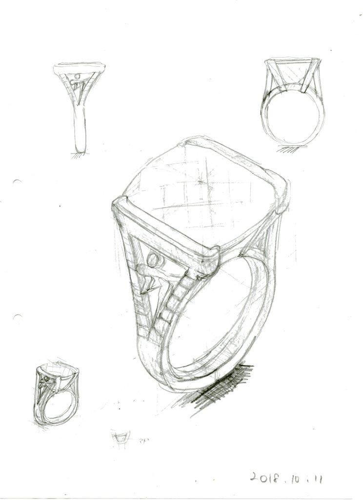 大きな水晶リングフルオーダーデザイン案3