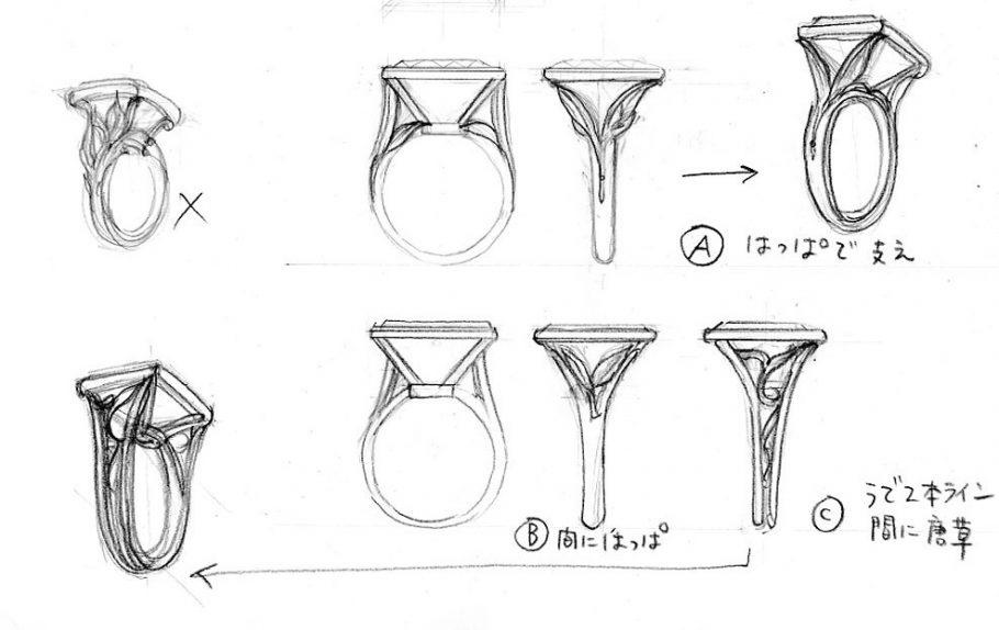 大きな水晶リングフルオーダーデザイン案2