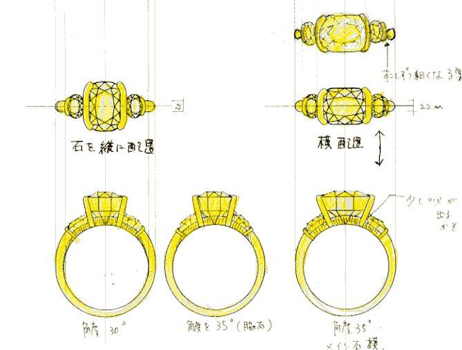 イエローサファイヤリング配置図