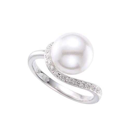 真珠指輪流線型メレ付き