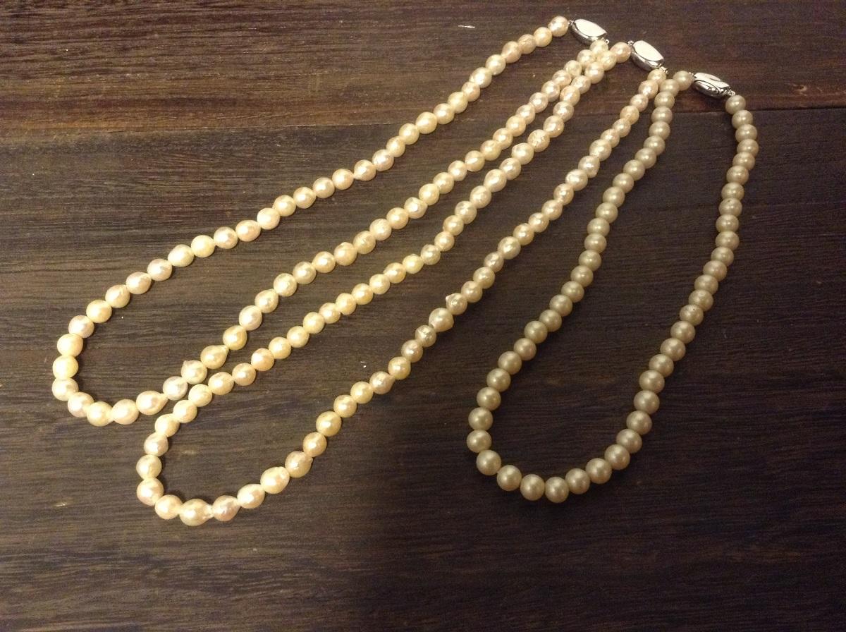 真珠の糸替え・金具を新調