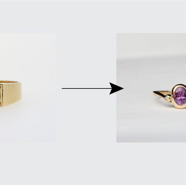 職人の手作り加工による指輪リメイクデザイン集
