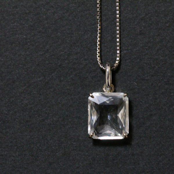 宝石お持込・ホワイトサファイアSVネックレス加工